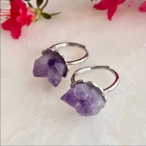 🌟Raw🌟🌸amethyst 🌸flower ring 🌟🎊✨